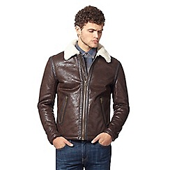 Wrangler - Big and tall dark brown aviator jacket