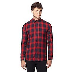 883 Police - Red button down check print shirt