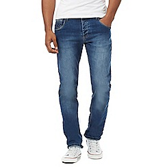 883 Police - Blue mid wash embossed pocket jeans