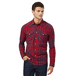 Lee - Red checked slim fit shirt