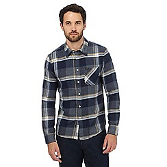 Lee - Navy checked print slim fit shirt