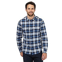 Lee - Navy and blue checked print shirt