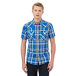 Lee - Blue checked print western shirt