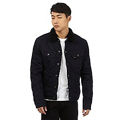 Lee - Dark blue sherpa collar denim jacket