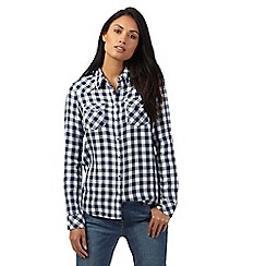 Wrangler - Navy checked print shirt