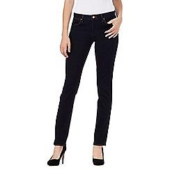 Wrangler - Dark blue straight fit 'Drew' mid waisted jeans