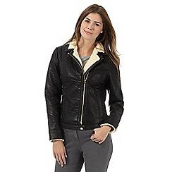 Wrangler - Black sherpa trim biker jacket