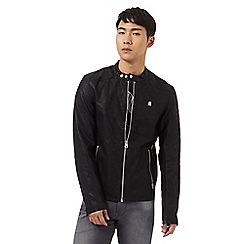 G-Star Raw - Black embossed sleeve biker jacket