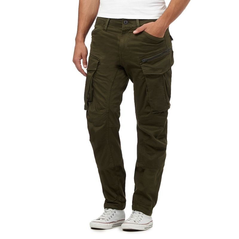 G-Star Raw Dark Green Cargo Trousers, Mens, Size: 30R