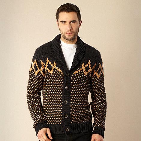 Wrangler - Navy jacquard shawl neck cardigan