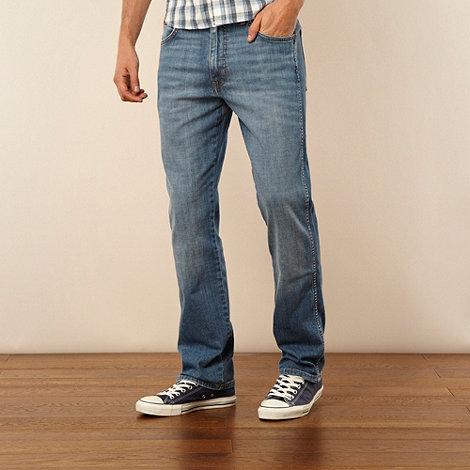 Wrangler - Arizona wornbroke blue straight leg jeans