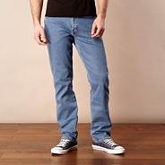 Texas beach banner mid blue straight leg jeans