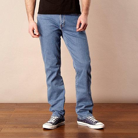 Wrangler - Texas beach banner mid blue straight leg jeans