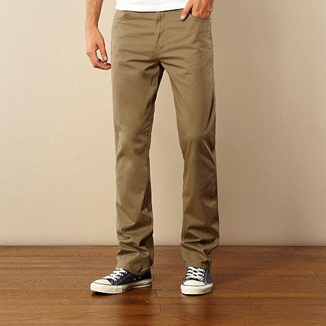 Wrangler - Olive herringbone straight leg trousers