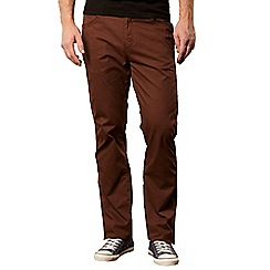 Wrangler - Brown straight leg herringbone trousers