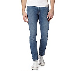 Wrangler - Light blue 'Larston' mid wash slim tapered jeans
