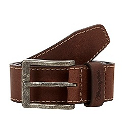 Wrangler - Dark brown stab stitched leather belt