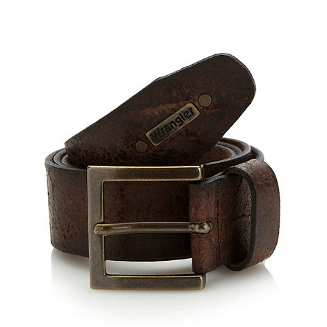 Wrangler - Big and tall brown textured leather belt