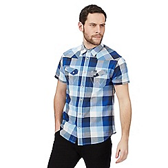 Wrangler - Navy large checked print regular fit shirt