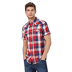Wrangler - Red and blue checked short sleeved shirt