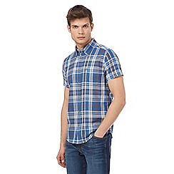 Wrangler - Blue checked short sleeved shirt