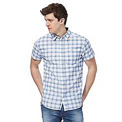 Wrangler - Blue large checked print regular fit shirt