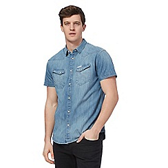 Wrangler - Light blue denim western shirt