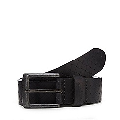 Wrangler - Big and tall black embossed weave belt