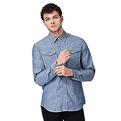 G-Star Raw - Blue denim chambray button down shirt