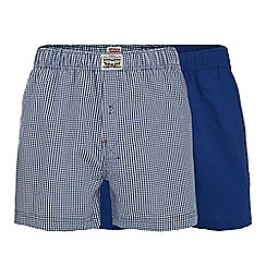 Levi's - 2 pack blue checked woven boxers