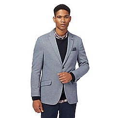Racing Green - Big and tall blue textured single breasted jacket