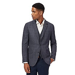 Racing Green - Big and tall blue windowpane print single breasted wool blend jacket