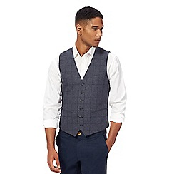 Racing Green - Blue windowpane print wool blend waistcoat