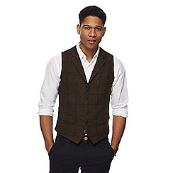 Racing Green - Big and tall grey wool blend windowpane waistcoat