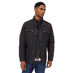 Racing Green - Grey quilted racer neck jacket