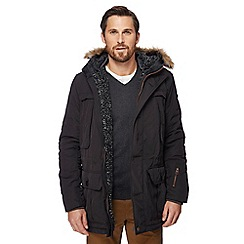 Racing Green - Black faux fur trimmed hood parka coat