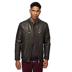 Racing Green - Brown biker jacket