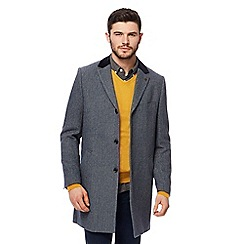 Racing Green - Big and tall blue velvet collar Epsom coat