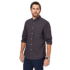 Racing Green - Big and tall dark grey plain long-sleeved oxford shirt