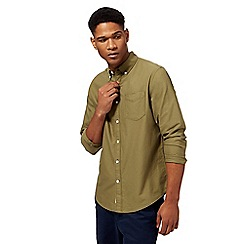 Racing Green - Big and tall khaki tan oxford shirt
