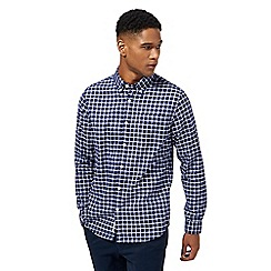 Racing Green - Dark blue checked Oxford shirt