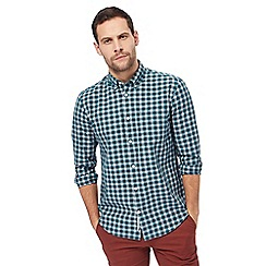 Racing Green - Green poplin check long-sleeved shirt