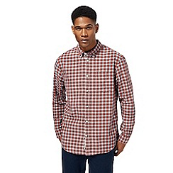 Racing Green - Dark orange checked tailored fit shirt
