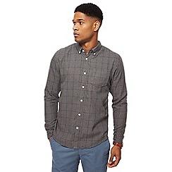 Racing Green - Grey windowpane print tailored fit shirt