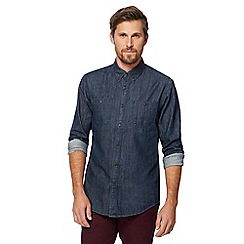 Racing Green - Big and tall navy denim utility shirt