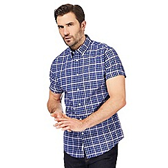 Racing Green - Big and tall blue checked regular fit shirt