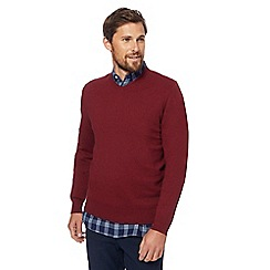 Racing Green - Big and tall red v-neck jumper