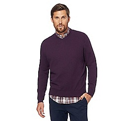 Racing Green - Big and tall purple v-neck jumper