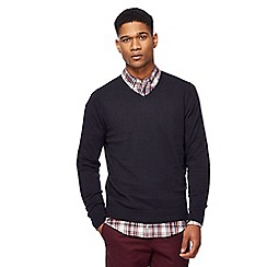 Racing Green - Navy V-neck jumper