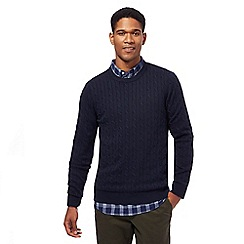Racing Green - Big and tall navy cable knit crew neck jumper